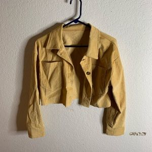 Yellow cropped jean jacket